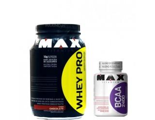 Whey Pro (1000g)  + Bcaa 2400 - 200 Cápsulas - Max Titanium