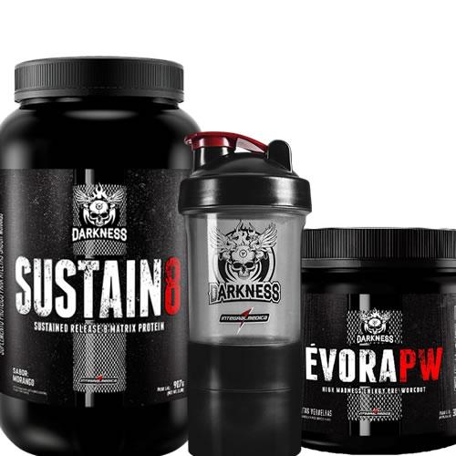 10afe3ee9 Kit Sustain 8 Whey Protein + Évora PW + Coqueteleira 3 Doses - Darkness -  Integralmédica