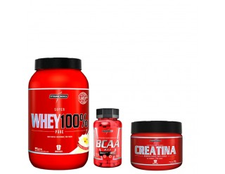 Kit Whey 100 Pure (907g) + BCAA 2:1:1 (90caps) + Creatina (150g) – Integralmédica