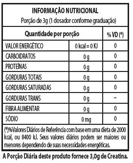 Tabela Nutricional Creatina Hardcore reload 300 Integralmédica