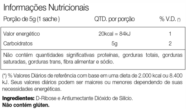 D-Ribose Vitafor Tabela Nutrticional