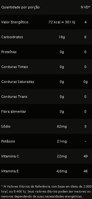 vo2 energy gel pre treino tabela nutricional