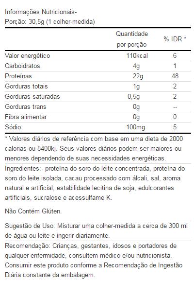 100% Whey On Refil Tabela Nutricional