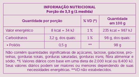 Xylitol Adoçante Sanavita Tabela Nutricional